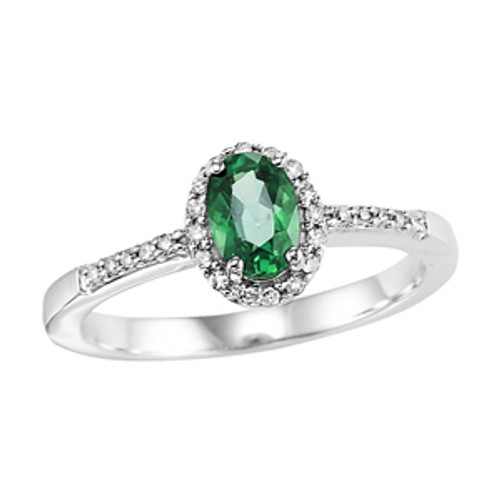 14k White Gold Oval Emerald & Diamond Halo Ring 0.16 DTW