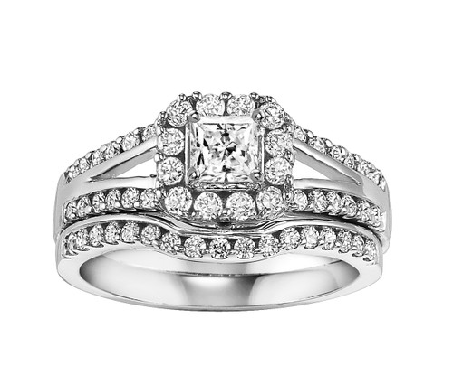 14K White Gold Wedding Set Princess Center in a Halo with a Split Shank 0.50 DTW