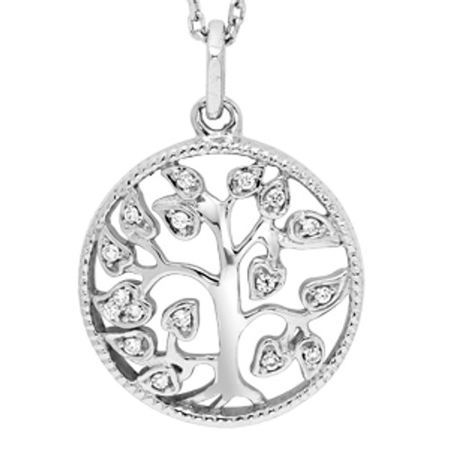 """Sterling Silver Tree of Life Necklace 0.06 DTW 18"""" Chain"""