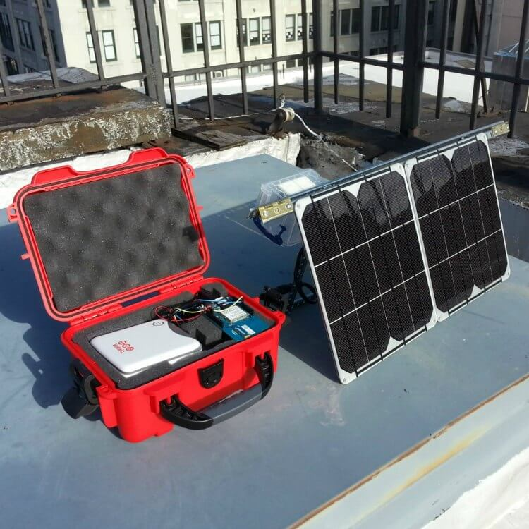 arduino and solar panel powering air pollution monitor