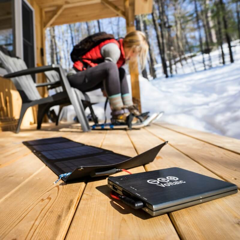 solar charger for laptop in cabin