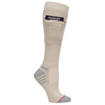 Womens Passport Security Pocket Socks - Oxford Tan - Over the Calf