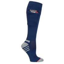 Mens One Size Passport Security Pocket Socks - Denim Navy Blue - Over the Calf