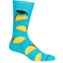 Mens Taco Time Pocket Socks - Aqua Blue - Crew