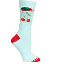 Womens Cherries Pocket Socks - Blue - Crew