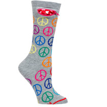 Womens Peace & Love Pocket Socks - Multicolor - Crew