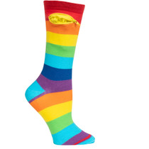 Womens Rainbow Pocket Socks - Multicolor - Crew