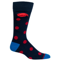 Navy & Red Dot, Pocket Socks, Mens