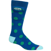 Mens Polka Dot Pocket Socks - Blue with Green - Crew