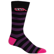 Mens Rugby Stripe Pocket Socks - Black with Purple and Pink - Crew