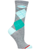 Womens Argyle Pocket Socks - Grey with Greens & Turquoise - Crew