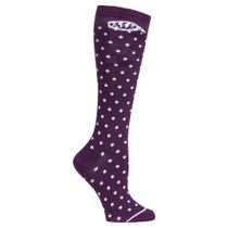 Womens Knee High Pocket Socks - Purple and White Polka Dot