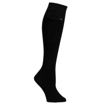 Womens Knee High Pocket Socks - Solid Black