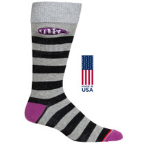 Mens Rugby Stripe Pocket Socks - Heather Grey with Black & Purple - Crew - MADE IN THE USA