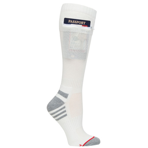 Womens One Size Passport Security Pocket Socks - Natural White - Over the Calf