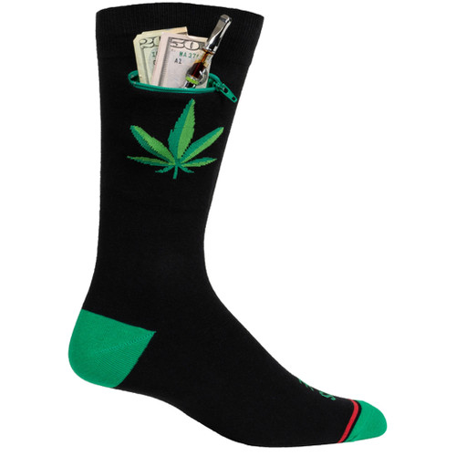 Mens 420 This One Not This One Pocket Socks - Black - Crew
