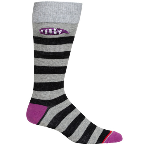 Mens Rugby Stripe Pocket Socks - Heather Grey with Black and Purple - Crew