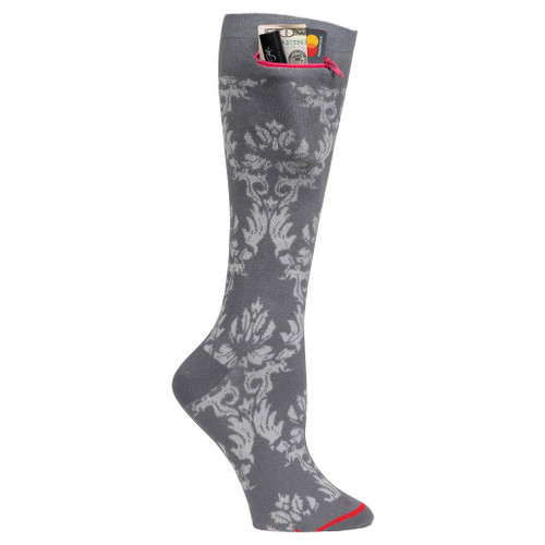 Womens Knee High Pocket Socks - Damask Grey