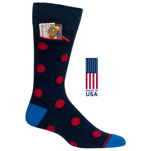 Mens Polka Dot Pocket Socks - Navy with Red - Crew - MADE IN THE USA