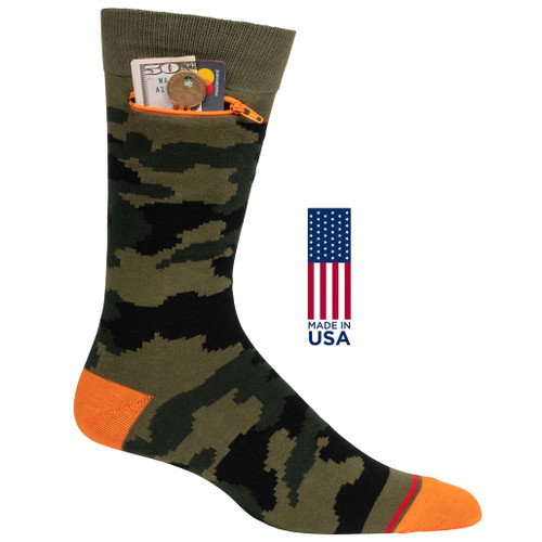 Mens Camouflage Pocket Socks - Green and Orange - Crew - MADE IN THE USA