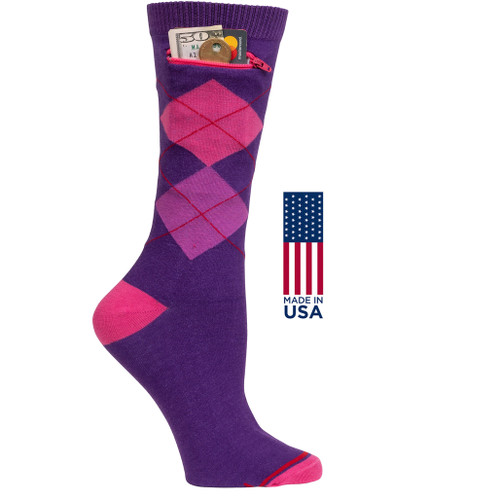 Womens Argyle Pocket Socks - Purple - Crew - MADE IN THE USA