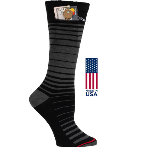 Womens Ombre Stripe - Black with Grey - Crew - MADE IN THE USA