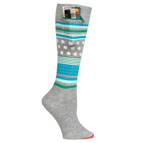 Womens Knee High Pocket Socks - Mixed Pattern Grey Heather
