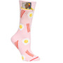 Womens Bacon'n'Eggs Pocket Socks - Pink - Crew