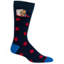 Mens Polka Dot Pocket Socks - Navy with Red - Crew