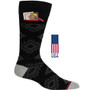 Mens Aztek Pocket Socks - Black with Grey - Crew - MADE IN THE USA