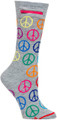 Womens Peace & Love Pocket Socks - Multicolor - Crew - MADE IN THE USA