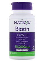 Natrol, Biotin, Maximum Strength, 10,000 mcg, 60 Tablets