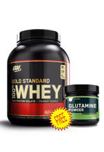 100% Whey Gold STD 5Lb Double Chocolate + Glutamine Combo