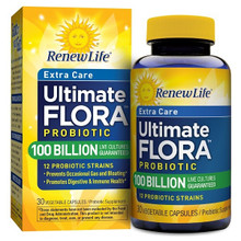 Renew Life Probiotic - Ultimate Flora Probiotic Extra Care, Shelf Stable Probiotic Supplement - 100 billion - 30 Vegetable Capsules