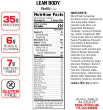 Labrada Nutrition, Lean Body Meal Replacement, Vanilla, 2.47 lb