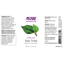 Now Essential Oils, Tea Tree Oil, 100% Pure, Vegan, 1-Ounce