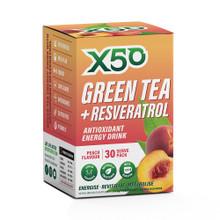 X50 GREEN TEA AND RESVERATROL PEACH, 30 Servings