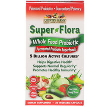 Country Farms Super Flora Whole Food Probiotic, 30 Caps