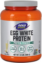 Now Sports Nutrition, Egg White Protein, Creamy Vanilla Powder, 1.5-LBS