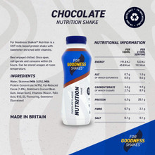 For Goodness Shakes Protein Nutrition Chocolate Shake, 315ml