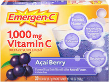 1+1 Emergen-C 1000mg Vitamin C Acai Berry 0.30 OZ 30 Packets
