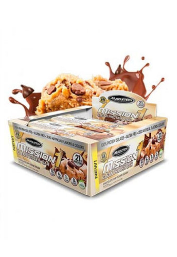 Muscletech Mission1 Protein Bar - Chocolate Chip Cookie Dough (Box Of 12 Bars)