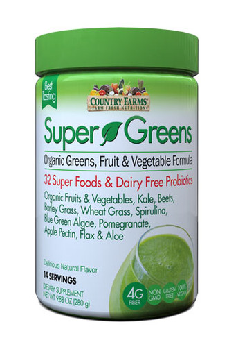 Country Farms Super Greens Drink Mix- Natural - 20 Servings