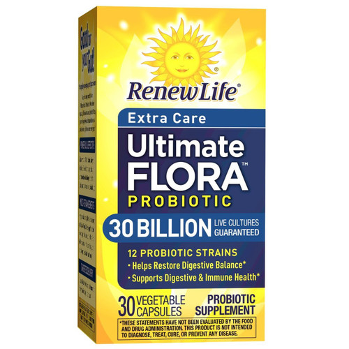 Renew Life Adult Probiotic - Ultimate Flora Probiotic Extra Care, Shelf Stable Probiotic Supplement - 30 billion - 30 Vegetable Capsules