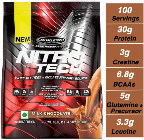 Muscletech Performance Series Nitrotech Whey Protein Peptides & Isolate (30g Protein, 3g Creatine, 6.8 BCAAs, 5g Glutamine & Precursor, 3.3g Leucine, Post-Workout) - 10lbs ,Milk Chocolate