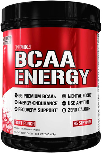 Evlution Nutrition BCAA Energy Pre Workout, Post Workout, Fruit Punch 65 Servings