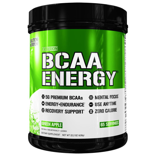 Evlution Nutrition BCAA Energy (Green Apple, 65 Servings, 630gms)