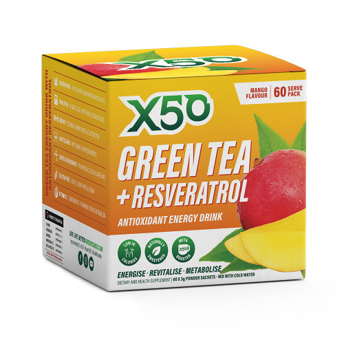 X50 GREEN TEA AND RESVERATROL MANGO, 30 Servings