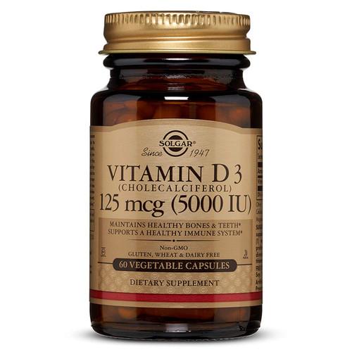 Solgar Vitamin D3 (Cholecalciferol) 125 mcg (5,000 IU) 60 Caps