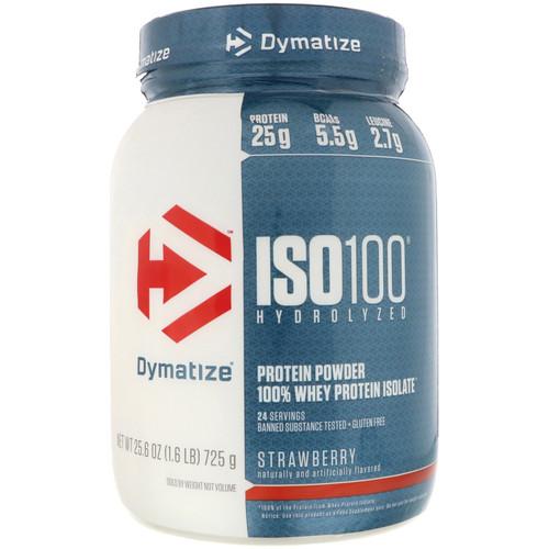 Dymatize Nutrition, ISO 100 Hydrolyzed, 100% Whey Protein Isolate, Strawberry, 1.6 lbs